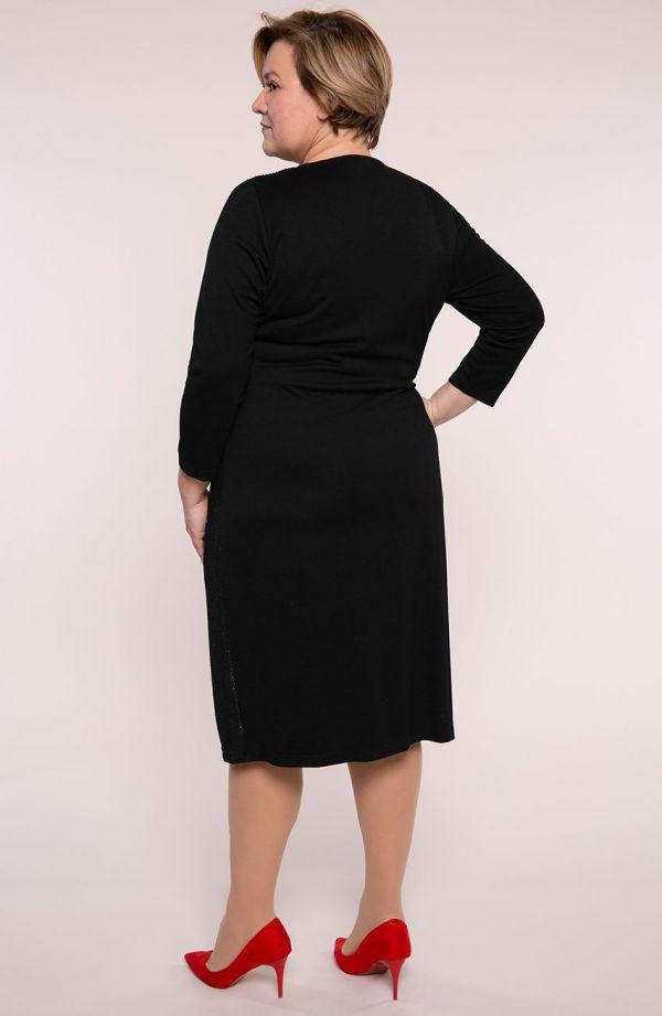 Czarna błyszcząca sukienka z łańcuszkiem- tanie sukienki plus size