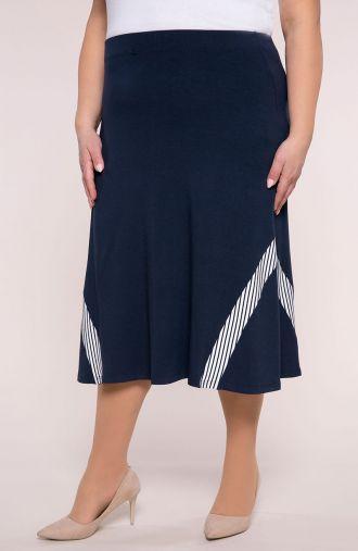 Granatowa spódnica z prążkowaną wstawką