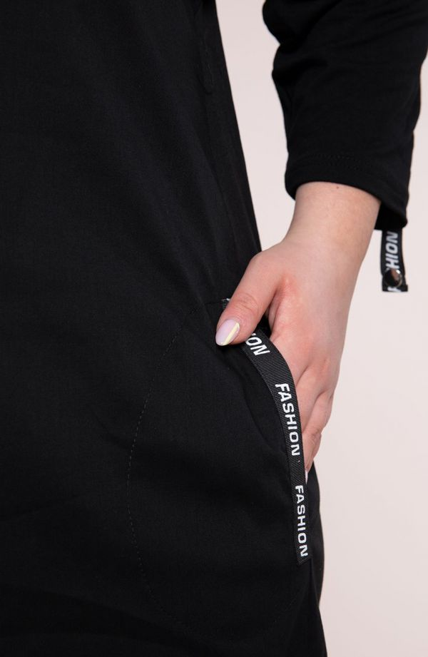 Czarna sportowa sukienka- tanie sukienki plus size