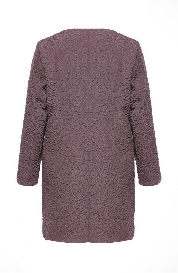 Fioletowy lekki pikowany płaszcz wzór abstrakcja