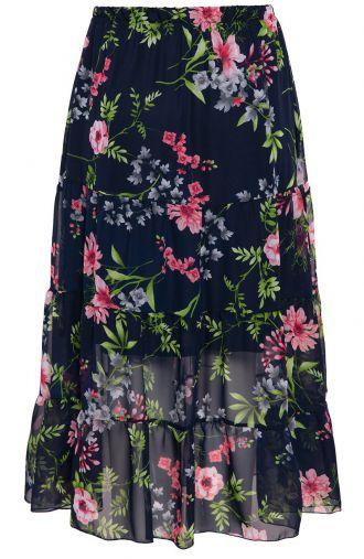 Długa falbaniasta spódnica w kwiaty