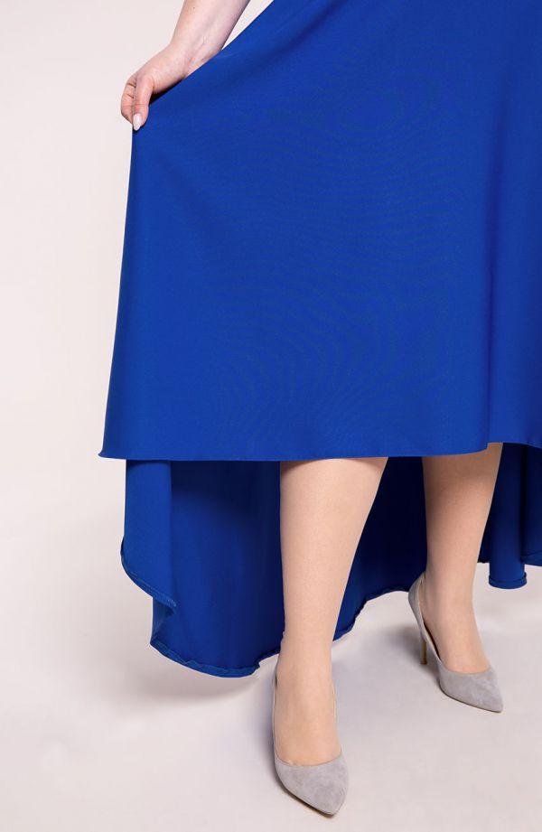 Chabrowa suknia z ozdobnym dekoltem