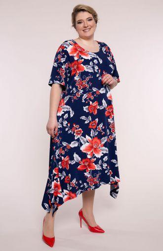 Sukienka z długimi bokami szkarłatny kwiat