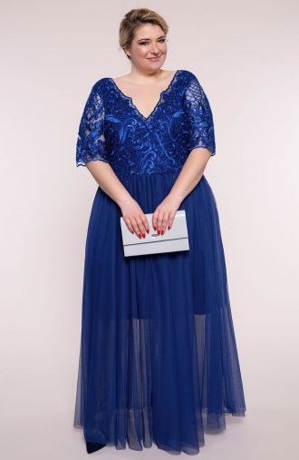 Elegancka chabrowa suknia z tiulem