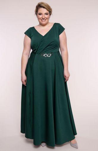 Wieczorowa suknia kopertowa butelkowa zieleń