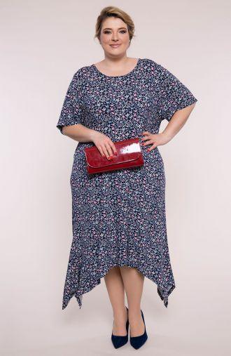 Sukienka z długimi bokami różowa łąka