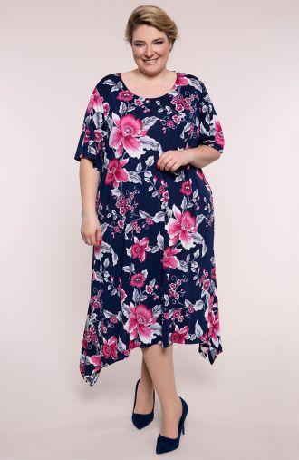 Sukienka z długimi bokami różowa wiosna