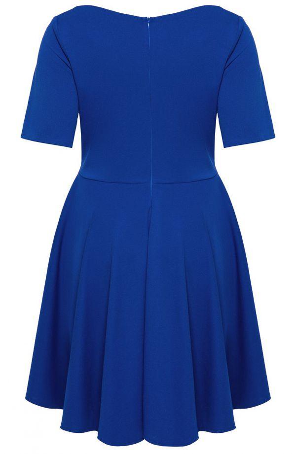 Chabrowa suknia z kopertowym dekoltem - sukienki plus size