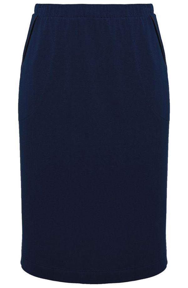 Granatowa sportowa spódnica z lamówką
