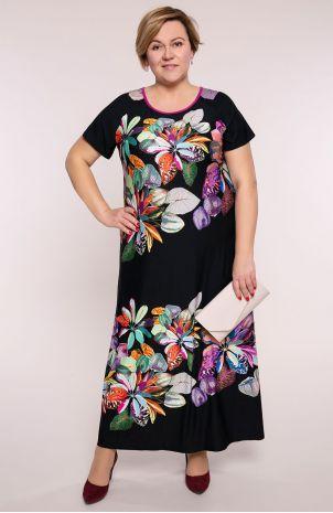 Półdługa sukienka zielone kwiaty Modne Duże Rozmiary dla