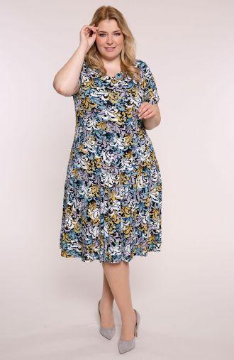 Rozkloszowana sukienka niebieskie ornamenty