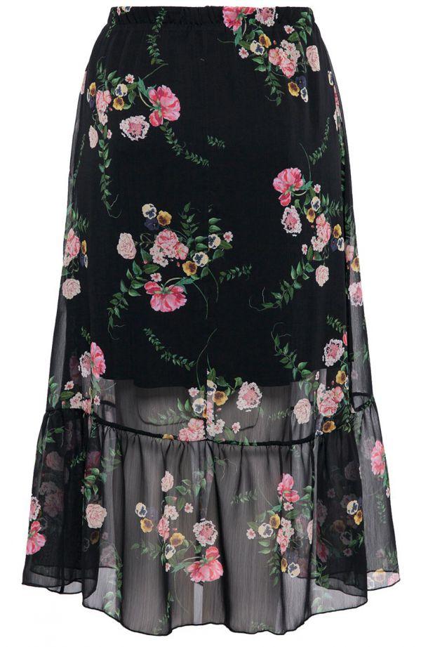 Długa spódnica w kwiaty z falbaną