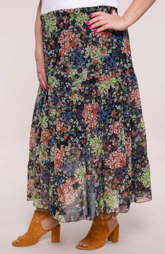 Długa falbaniasta spódnica kolorowy ogród