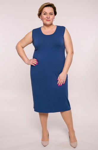Gładka prosta sukienka w niebieskim kolorze