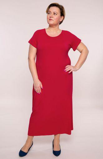 Długa sukienka w malinowym kolorze