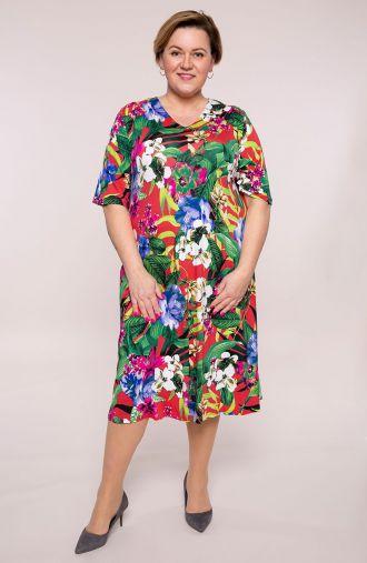 Półdługa sukienka rozgrzane hawaje