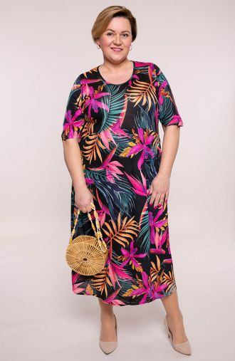 Półdługa kopertowa sukienka kolor tropików
