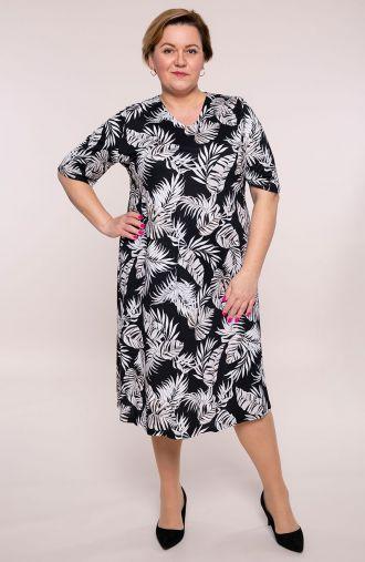 Półdługa sukienka palmowe liście
