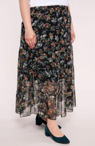 Długa falbaniasta spódnica w róże
