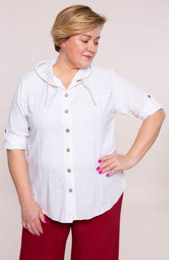 Biała bawełniana bluzka z kapturem