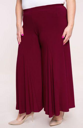 Bordowe spódnico-spodnie