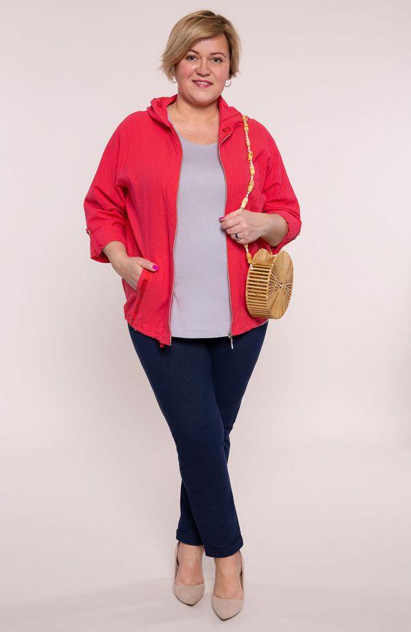 Czerwona bluza z bawełny z kapturem -moda dla puszystych