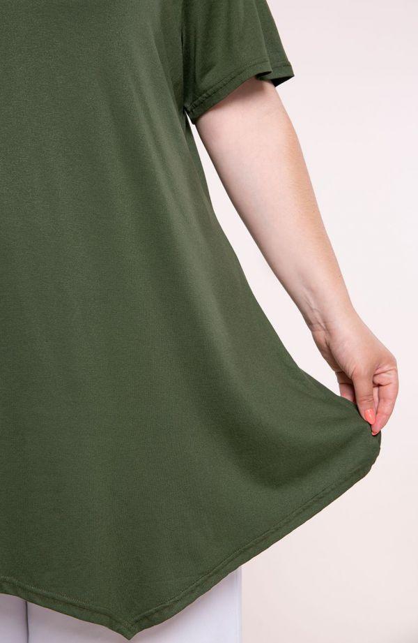 Lekko ukośna tunika w kolorze khaki