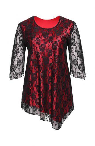 Czarno-czerwona koronkowa tunika