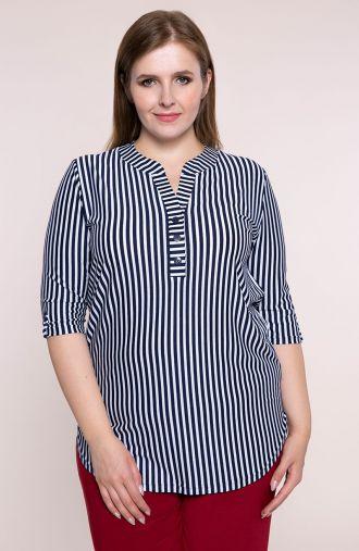 Długa bluzka w pionowe cieniutkie paseczki<span> - moda xxl</span>