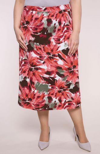 Dzianinowa spódnica malarskie kwiaty