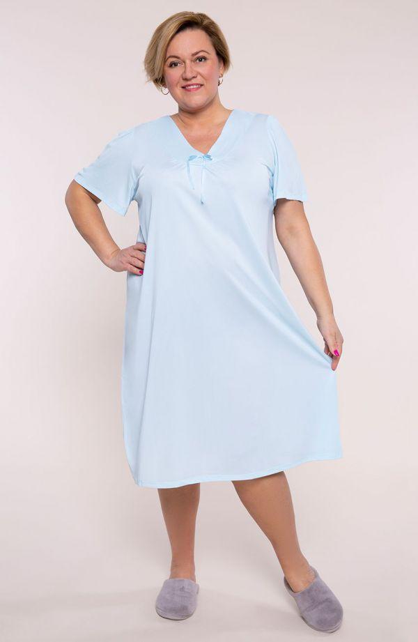 Błękitna koszula nocna z wstążką na dekolcie
