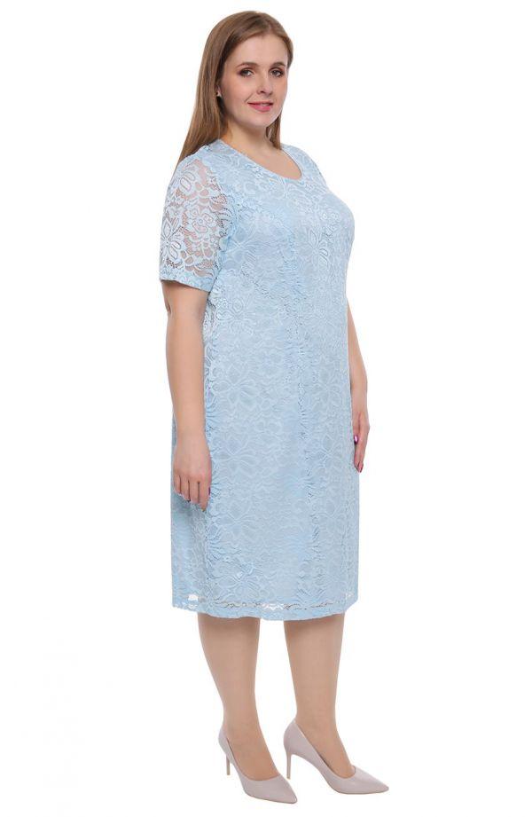 Błękitna koronkowa sukienka z krótkim rękawem
