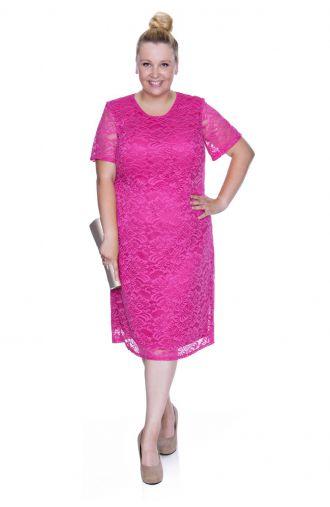 Różowa koronkowa sukienka z krótkim rękawem