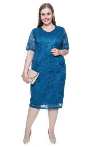 Morska koronkowa sukienka z krótkim rękawem