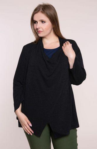 Czarny sweter z upinanym dekoltem