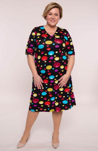 Półdługa sukienka kolorowe bąbelki