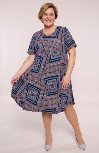 Sukienka z odciętą talią kolorowe kwadraty