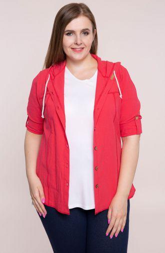 Czerwona bawełniana bluzka z kapturem