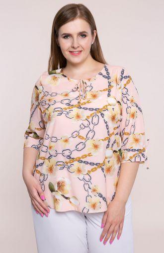 Elegancka różowa bluzka kwiaty i łańcuchy