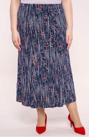 Granatowa w drobne kwiatuszki długa ,cienka spódnica roz 46