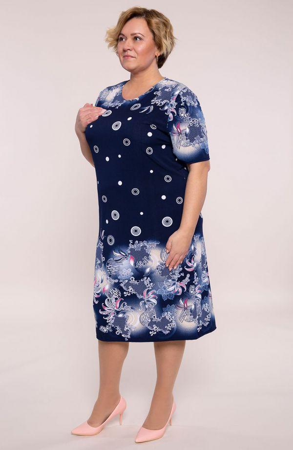 Półdługa sukienka kwiatowe ornamenty