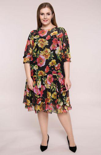 Sukienka z falbaną malwy i lilie