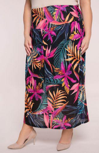 Spódnica z karczkiem różowe tropiki