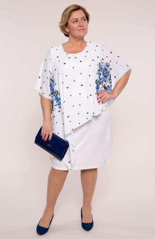 Biała asymetryczna sukienka błękitny irys