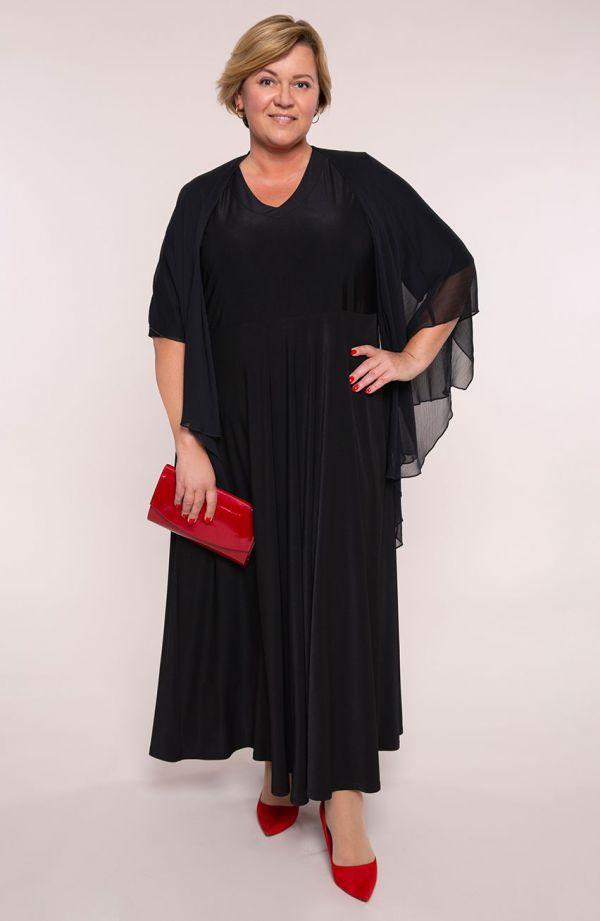 Długa czarna sukienka z mantylką