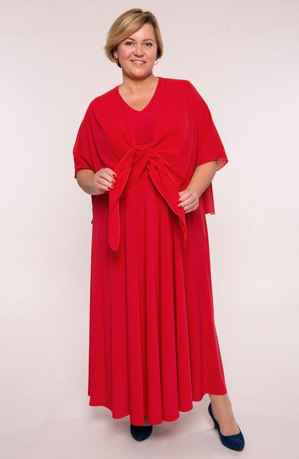 Długa szkarłatna sukienka z mantylką