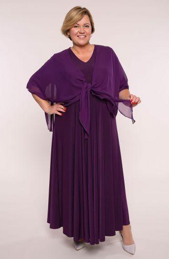 Długa purpurowa sukienka z mantylką