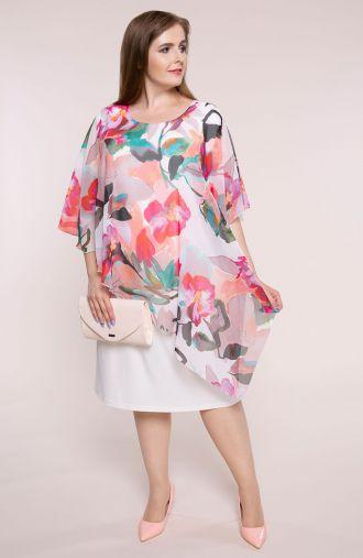 Asymetryczna sukienka pudrowe kwiaty