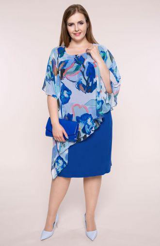 Asymetryczna sukienka lazurowa akwarela
