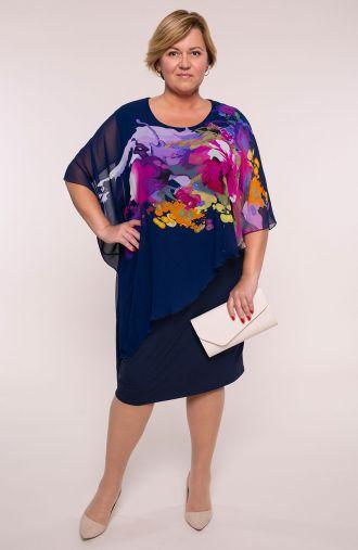 Granatowa asymetryczna sukienka czar barw